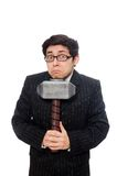 Business man holding hammer isolated on the white Royalty Free Stock Photos