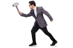 Business man holding hammer isolated on white Royalty Free Stock Photography