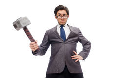 Business man holding hammer isolated on white Stock Images