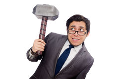 Business man holding hammer isolated on white Stock Image