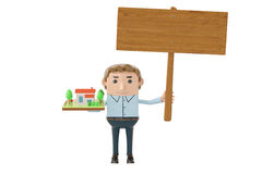 Business man holding house and billboard.3D illustration. Stock Images