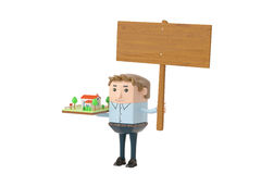 Business man holding house and billboard.3D illustration. Business man holding house and billboard Royalty Free Stock Photos