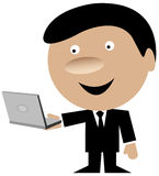 Business man holding a laptop computer Royalty Free Stock Photos