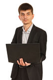 Business man holding laptop Royalty Free Stock Photography