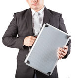 Business man holding metal strong briefcase isolated white backg Stock Photography