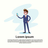 Business Man Holding Mobile Phone Call, Using Cellphone stock illustration