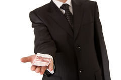 Business man holding money Stock Images