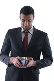 Business man holding money Stock Photos