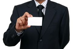 Business man holding a name ca. Rd Stock Photos