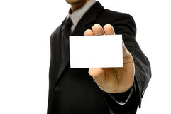 Business Man Holding Name Card Stock Photo