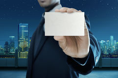 Business Man Holding Name Card Royalty Free Stock Photo