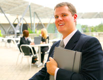 Business Man Holding Notebook Stock Photos