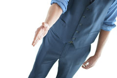 Business man holding out hand for a hand shake Royalty Free Stock Photos
