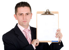 Business man holding pad Royalty Free Stock Images