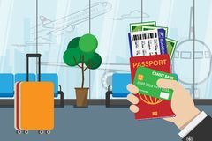 Business man holding passport, boarding pass , pocket money and credit card, prepare for travel with luggage and airport terminal vector illustration