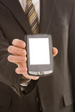 Business man holding a pda Royalty Free Stock Photo