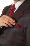 Business man holding pen Stock Photos