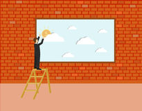 Business man holding a picture to the wall. Positive thinking concept. Isometric 3d design.  illustration Stock Photography