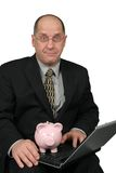 Business Man Holding Piggy Bank Royalty Free Stock Image