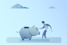 Business Man Holding Piggy Bank Money Savings Concept. Flat Vector Illustration Royalty Free Stock Photo