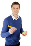 Business man holding post its and pencils Royalty Free Stock Photos