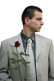 Business man holding rose Stock Photo