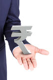 Business man holding rupee currency symbol Stock Photos