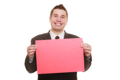 Business man holding sign red blank Royalty Free Stock Image