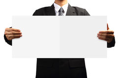 Business man holding signs Royalty Free Stock Photos