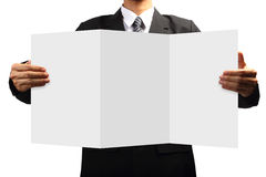 Business man holding signs Stock Photos