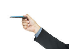Business man holding smart phone Stock Images