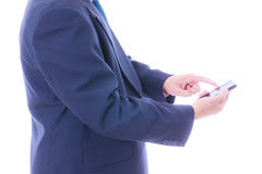 Business man holding smart phone Royalty Free Stock Photography