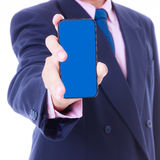 Business man holding smart phone Royalty Free Stock Image