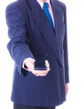 Business man holding smart phone isolated Royalty Free Stock Image