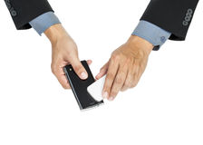 Business man holding smartphone as NFC Stock Photography