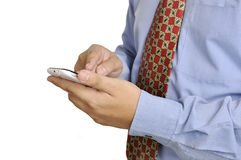 Business Man Holding Smartphone Royalty Free Stock Images