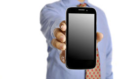 Business Man Holding Smartphone Royalty Free Stock Image