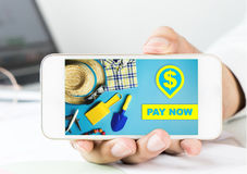 Business man holding a smartphone for Online Store pay now. Payment Stock Images