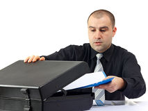 Business man holding some blank documents Royalty Free Stock Photography