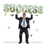 Business man holding SUCCESS filled with money Stock Images