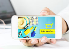 Business man is holding Summer shopping application. On smartphone Stock Images