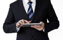 Business man holding tablet. Business man hand holding a touchpad pc / tablet Royalty Free Stock Photography