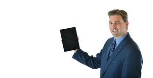 Business man holding a tablet Stock Photos