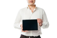 Business man holding tablet PC with black screen Stock Photography