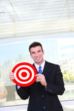 Business Man Holding Target royalty free stock images