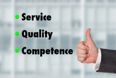 Business man holding a thumb up, Service-Quality-Competence Stock Photography