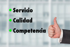 Business man holding a thumb up, Service-Quality-Competence Stock Photos
