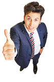 Business man holding thumb up Stock Photo