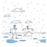 Business Man Holding Umbrella During Rain Finance Protection Concept. Doodle Vector Illustration Stock Image