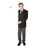 Business man holding a white banner Royalty Free Stock Photos